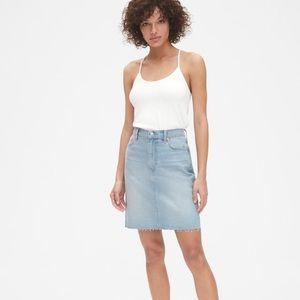 High Rise Denim Skirt with Raw Hem